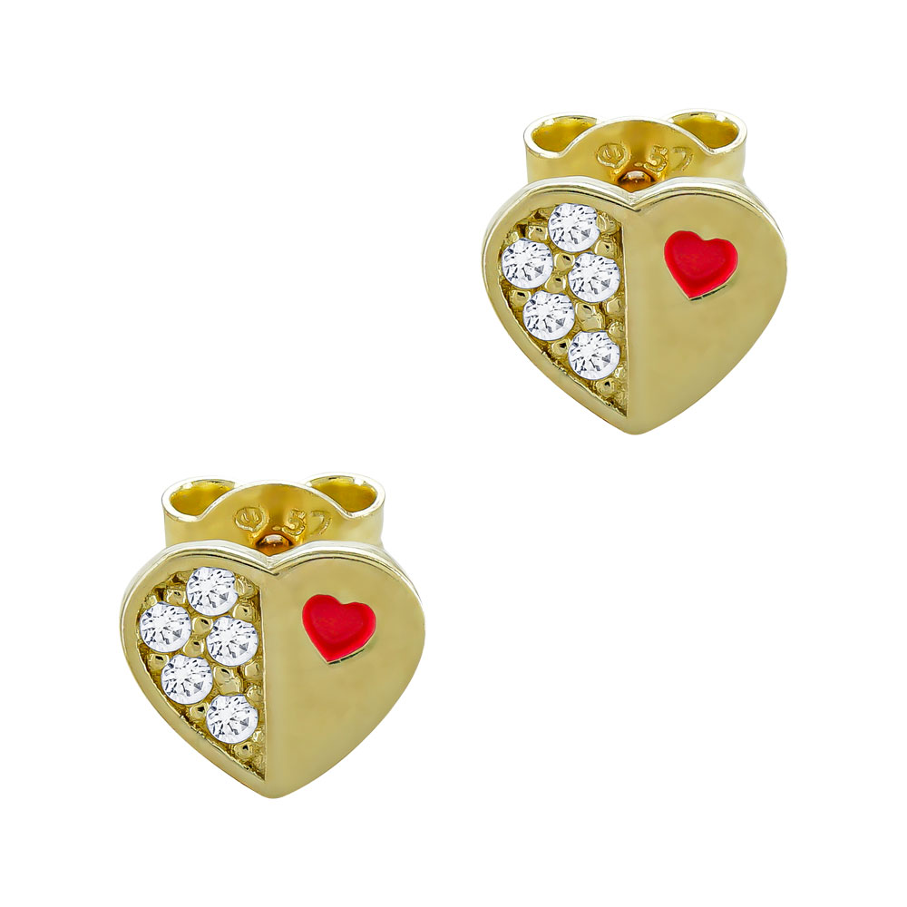 Παιδικά Σκουλαρίκια Καρδούλες Από Κίτρινο Χρυσό Κ9 PSK113061