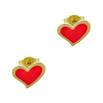 Παιδικά Σκουλαρίκια Καρδιά Από Κίτρινο Χρυσό Κ9 PSK113053