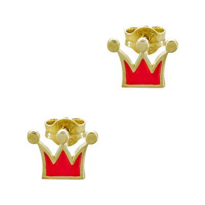 Παιδικά Σκουλαρίκια Kορώνα Από Κίτρινο Χρυσό Κ9 PSK113057