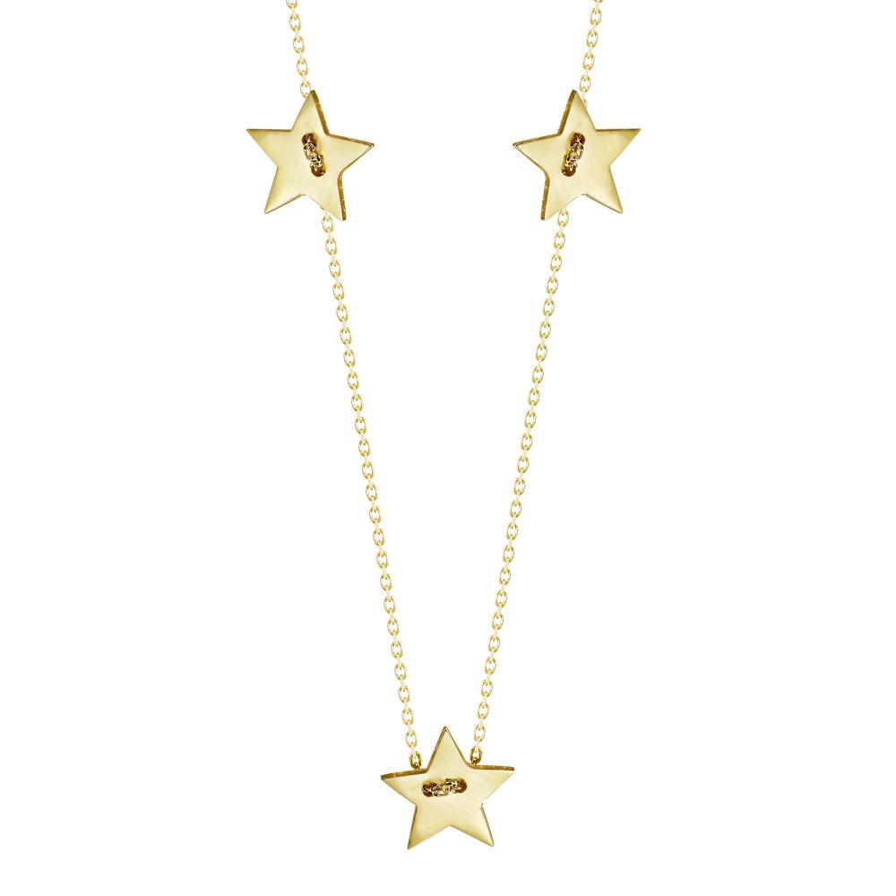 Κολιέ με Αστεράκια από Kίτρινο Χρυσό K14 KL107842