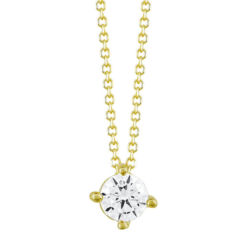 Κολιέ Μονόπετρο από Κίτρινο Χρυσό Κ9 ΚL89597