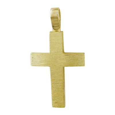 Σταυρός Βάπτισης Ανδρικός Σε Κίτρινο Χρυσό 14 Καρατίων ST064751