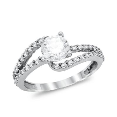 Μονόπετρο Δαχτυλίδι από Λευκό Χρυσό K9 DX1041