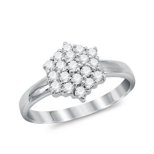 Μονόπετρο Δαχτυλίδι από Λευκό Χρυσό K14 DX1047