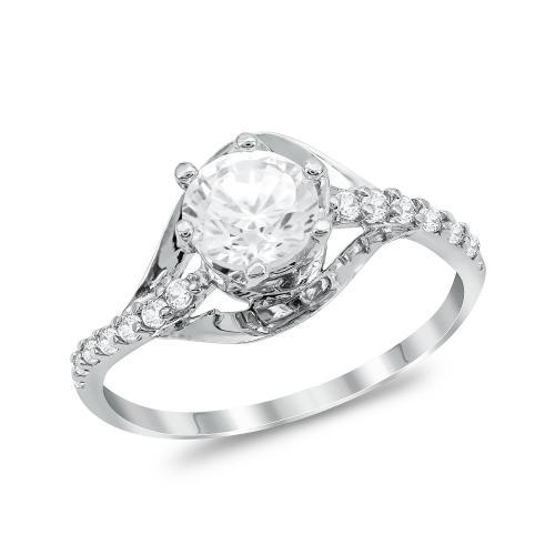 Μονόπετρο Δαχτυλίδι από Λευκό Χρυσό K14 DX1050