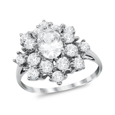 Μονόπετρο Δαχτυλίδι από Λευκό Χρυσό K14 DX1054