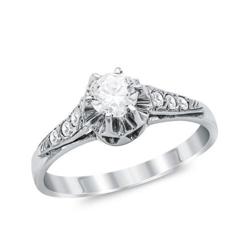 Μονόπετρο Δαχτυλίδι από Λευκό Χρυσό K14 DX1056