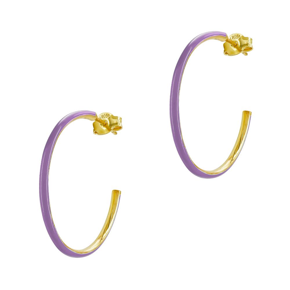 HONOR Σκουλαρίκια Κρίκος από Ασήμι 925 Purple SE047SPL