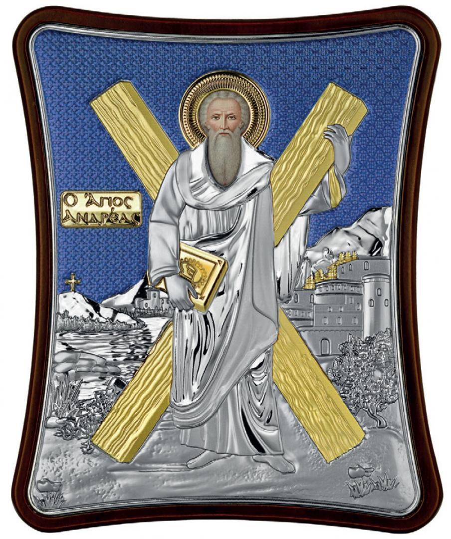 Ασημένια έγχρωμη εικόνα Αγίου Ανδρέα MA-E1431-XB