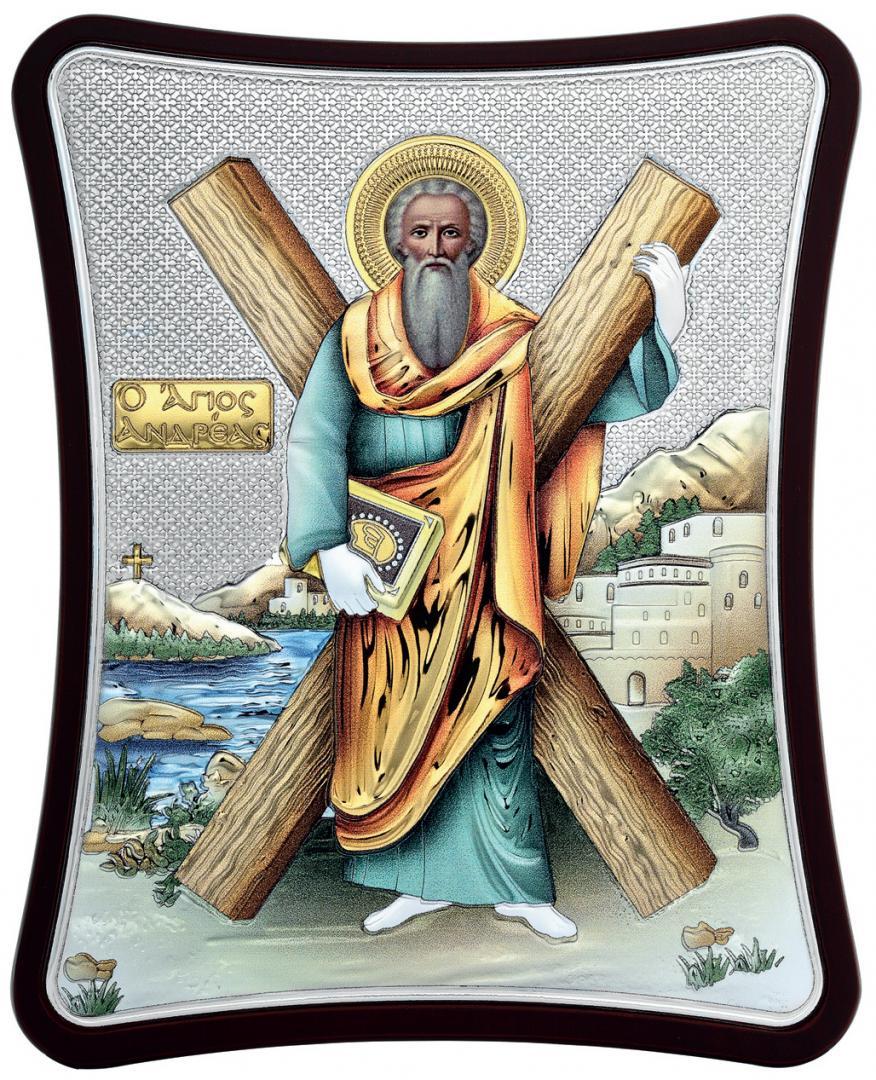 Ασημένια έγχρωμη εικόνα Αγίου Ανδρέα MA-E1431-XC