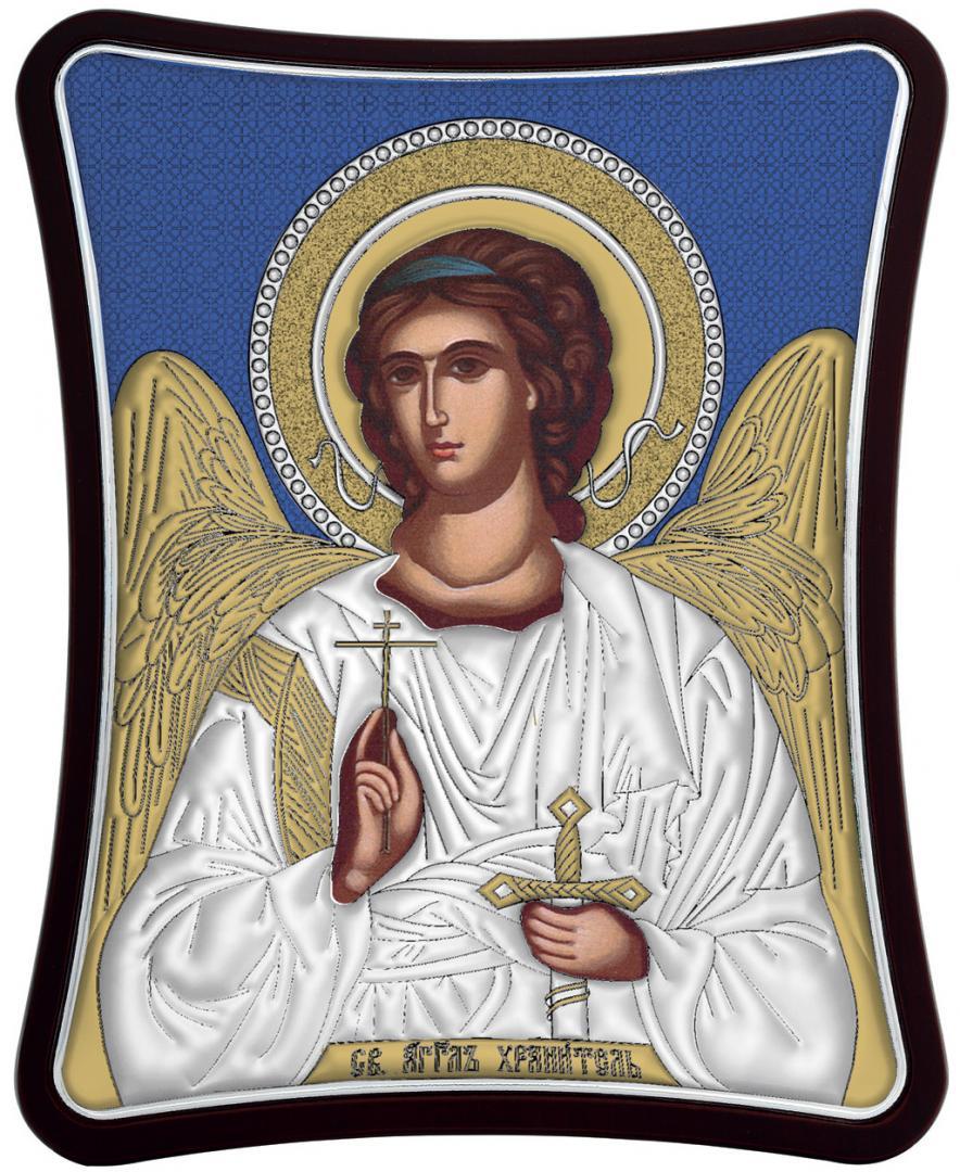 Ασημένια έγχρωμη εικόνα Φύλακας Άγγελος MA-E1426-XB