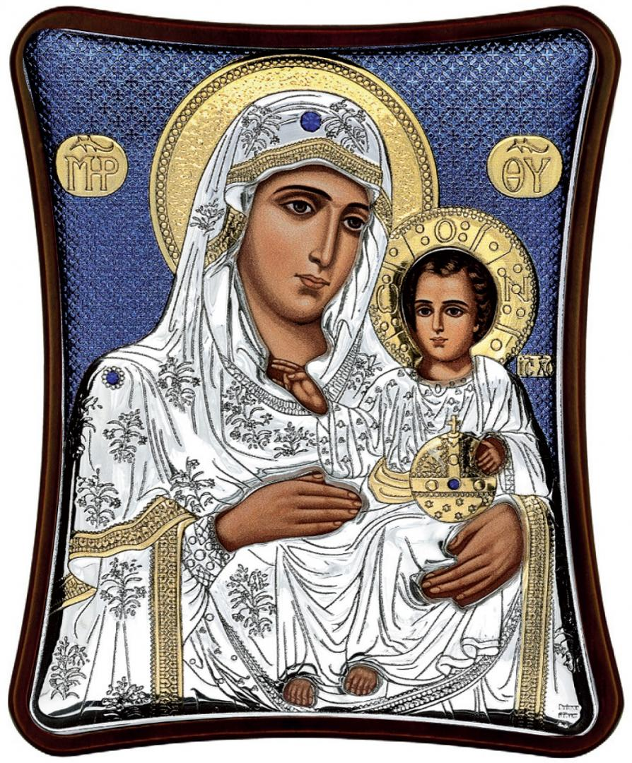 Ασημένια έγχρωμη εικόνα Παναγία η Ιεροσολυμίτισσα MA-E1402-XB