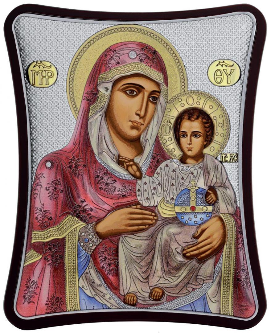 Ασημένια έγχρωμη εικόνα Παναγία η Ιεροσολυμίτισσα MA-E1402-XC