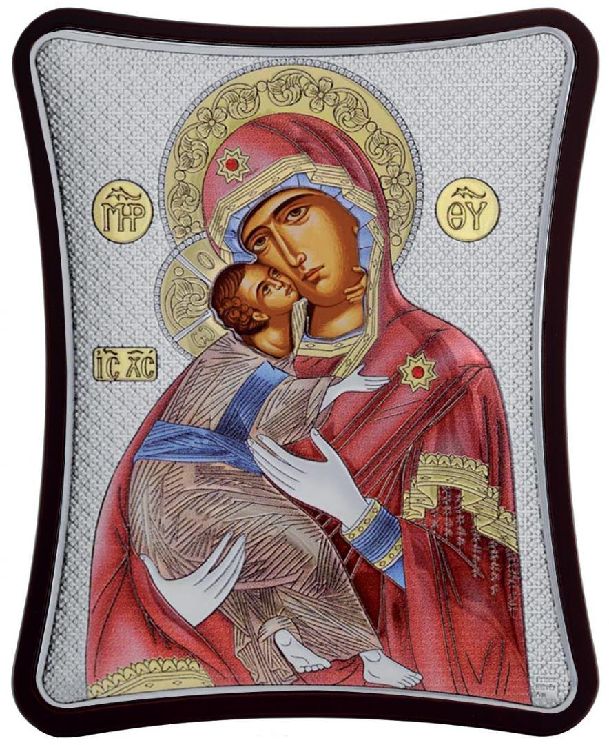 Ασημένια έγχρωμη εικόνα Παναγία Βλαδίμηρ MA-E1410-XC