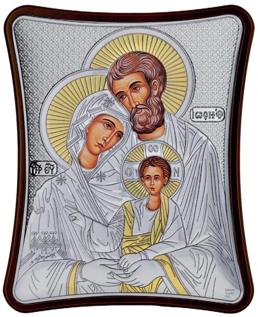 Ασημένια επίχρυση εικόνα Αγία Οικογένεια MA-E1405-X