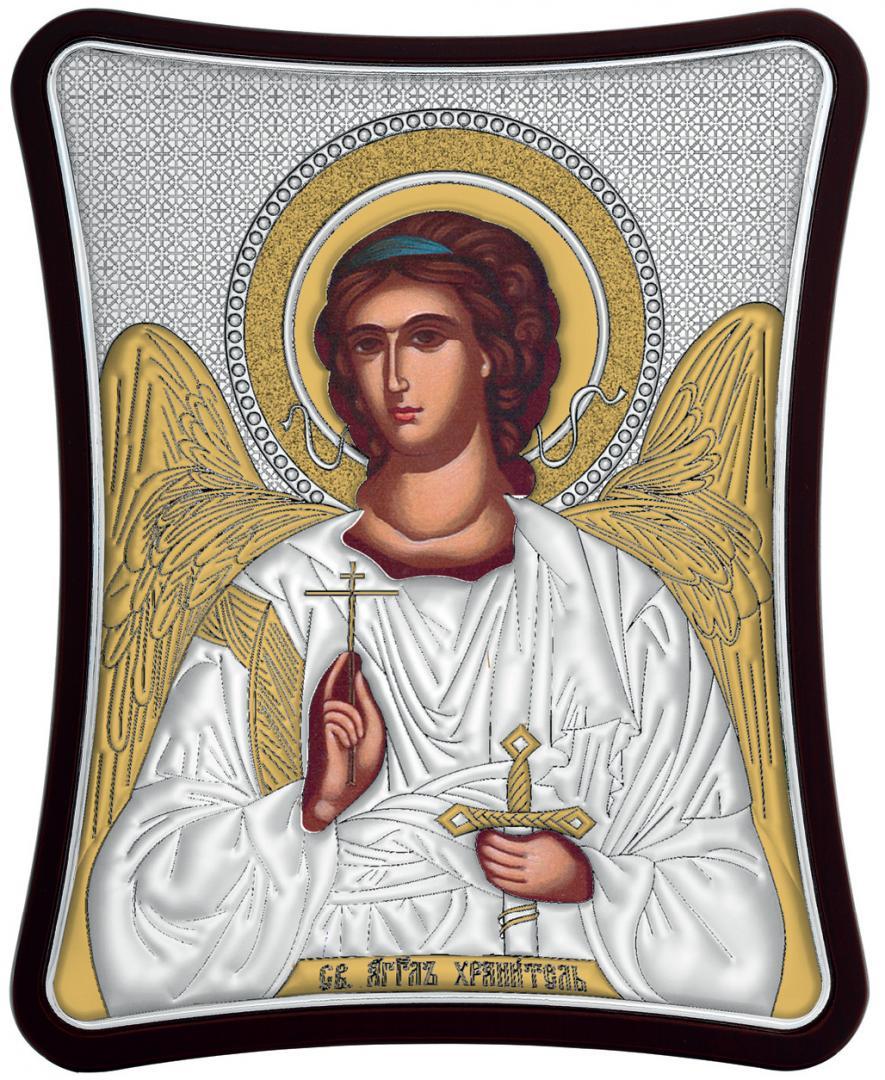 Ασημένια επίχρυση εικόνα Φύλακας Άγγελος MA-E1426-X