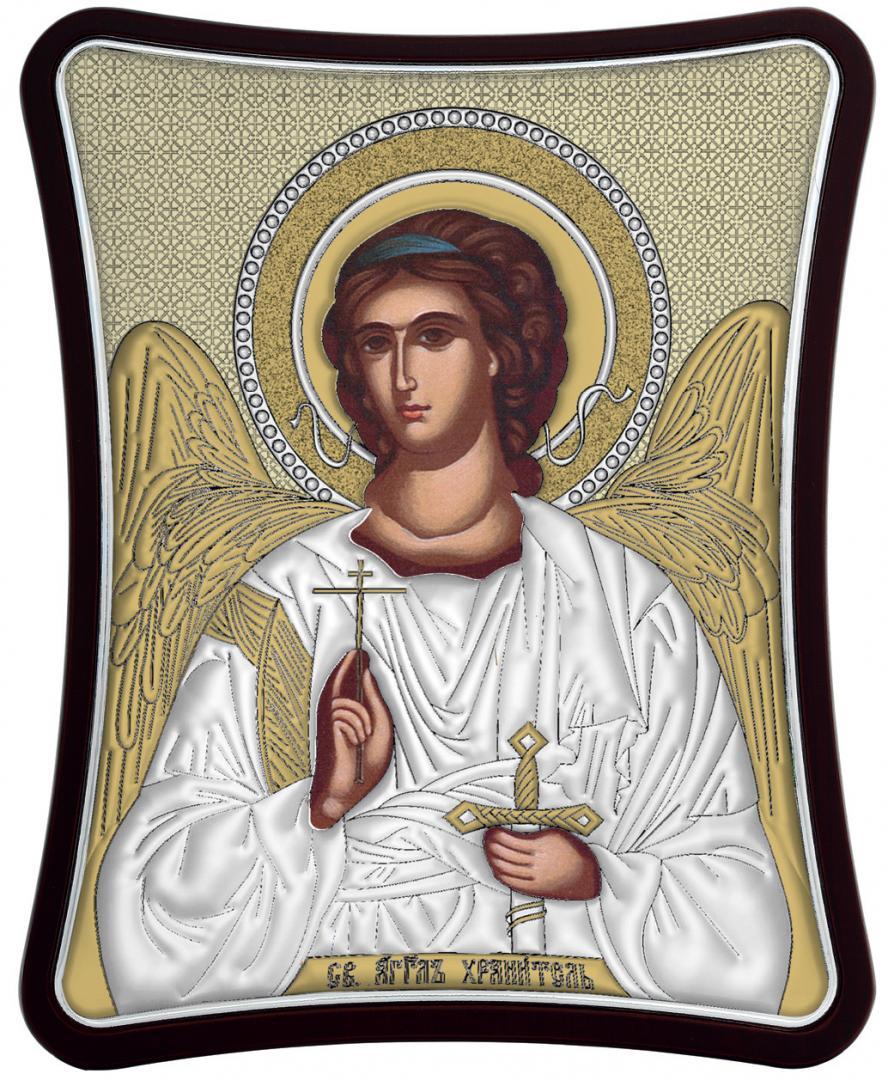 Ασημένια επίχρυση εικόνα Φύλακας Άγγελος MA-E1426-XG