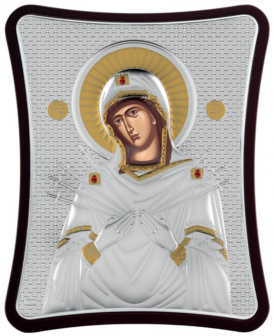 Ασημένια επίχρυση εικόνα Παναγία Επτά Σπαθιά MA-E1414-X