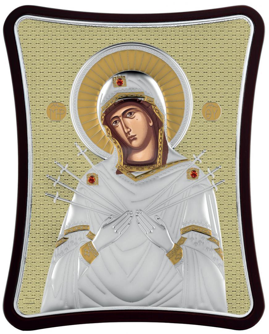 Ασημένια επίχρυση εικόνα Παναγία Επτά Σπαθιά MA-E1414-XG