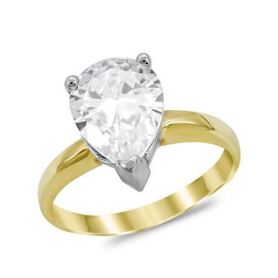 Μονόπετρο Δαχτυλίδι από Δίχρωμο Χρυσό K14 DX1024