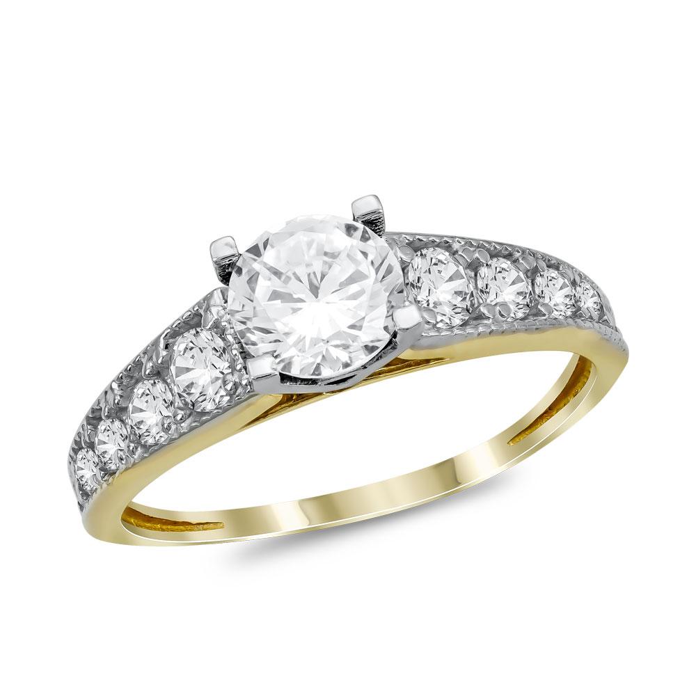 Μονόπετρο Δαχτυλίδι από Κίτρινο Χρυσό K14 DX1019
