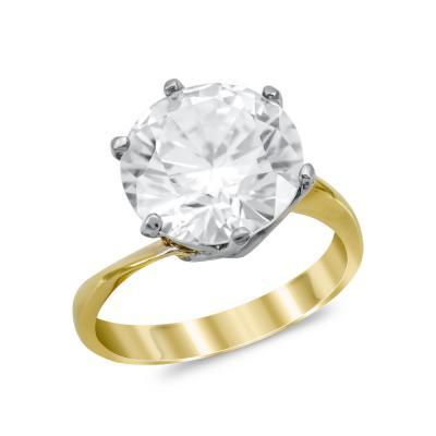 Μονόπετρο Δαχτυλίδι από Δίχρωμο Χρυσό K14 DX1023