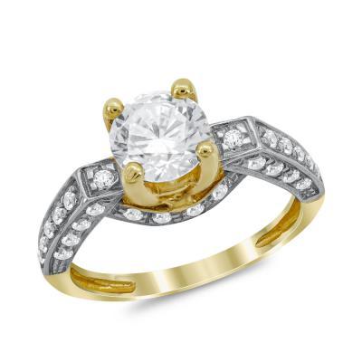 Μονόπετρο Δαχτυλίδι από Δίχρωμο Χρυσό K14 DX1032