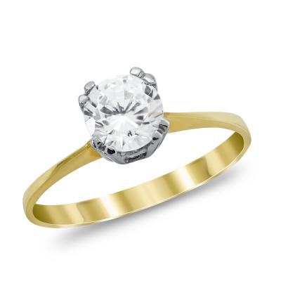 Μονόπετρο Δαχτυλίδι από Δίχρωμο Χρυσό K14 DX1038