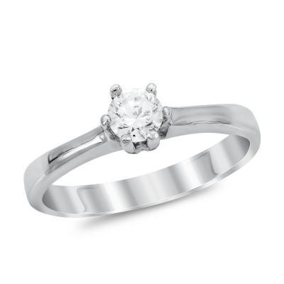 Μονόπετρο Δαχτυλίδι από Λευκό Χρυσό K14 DX1042