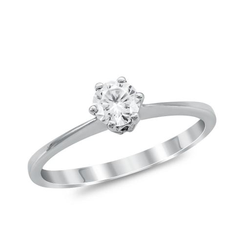 Μονόπετρο Δαχτυλίδι από Λευκό Χρυσό K14 DX1049