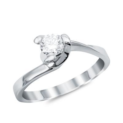 Μονόπετρο Δαχτυλίδι Με Διαμάντια Brilliant από Λευκό Χρυσό K18 DX092344