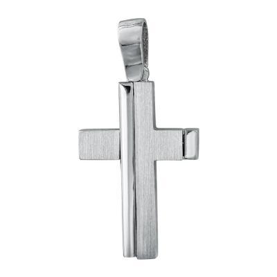 Σταυρός Βάπτισης Ανδρικός Σε Λευκό Χρυσό 14 Καρατίων ST083692