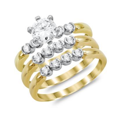 Μονόπετρο Δαχτυλίδι με Βέρες από Δίχρωμο Χρυσό K14 DX1039