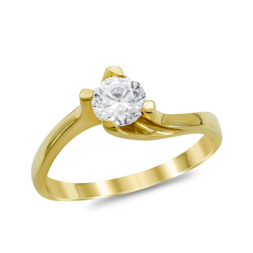 Μονόπετρο Δαχτυλίδι από Κίτρινο Χρυσό K14 DX1017