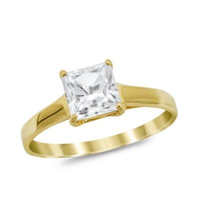 Μονόπετρο Δαχτυλίδι από Κίτρινο Χρυσό K14 DX1026