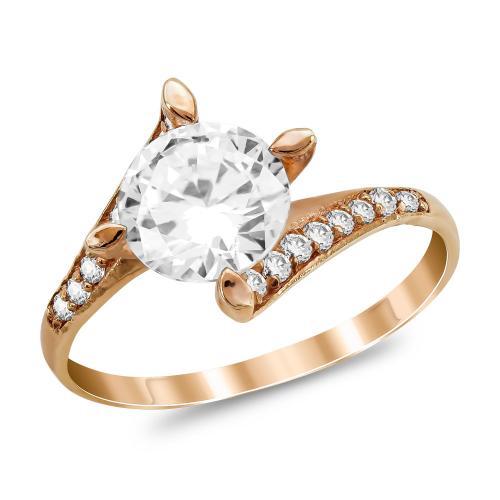 Μονόπετρο Δαχτυλίδι από Ροζ Χρυσό K9 DX1059
