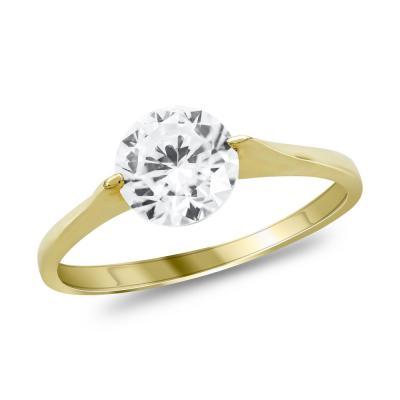 Μονόπετρο Δαχτυλίδι από Κίτρινο Χρυσό K14 DX1034