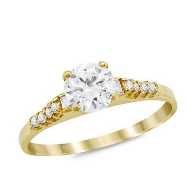 Μονόπετρο Δαχτυλίδι από Kίτρινο Χρυσό K14 DX1021