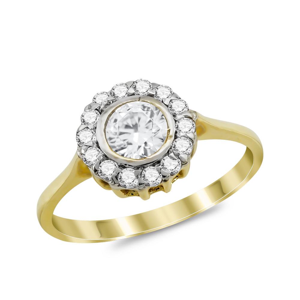 Μονόπετρο Δαχτυλίδι από Kίτρινο Χρυσό K14 DX1022