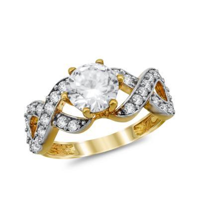 Μονόπετρο Δαχτυλίδι από Κίτρινο Χρυσό K14 DX1025