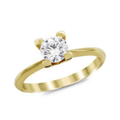 Μονόπετρο Δαχτυλίδι από Κίτρινο Χρυσό K14 DX1030