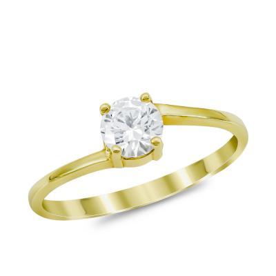Μονόπετρο Δαχτυλίδι από Kίτρινο Χρυσό K14 DX1020