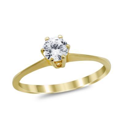 Μονόπετρο Δαχτυλίδι από Κίτρινο Χρυσό K14 DX1029