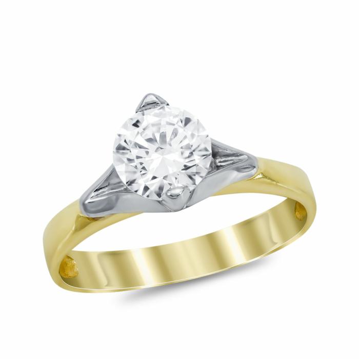 Μονόπετρο Δαχτυλίδι από Δίχρωμο Χρυσό K14 DX1031