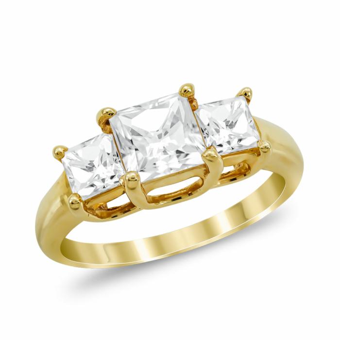 Μονόπετρο Δαχτυλίδι από Κίτρινο Χρυσό K14 DX1035