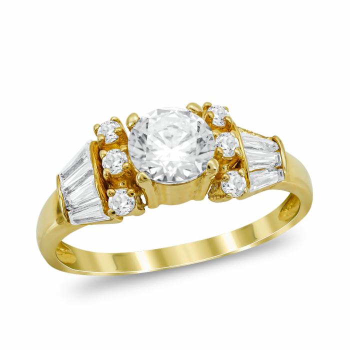 Μονόπετρο Δαχτυλίδι από Κίτρινο Χρυσό K14 DX1036