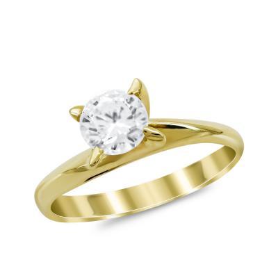 Μονόπετρο Δαχτυλίδι από Κίτρινο Χρυσό K14 DX1027