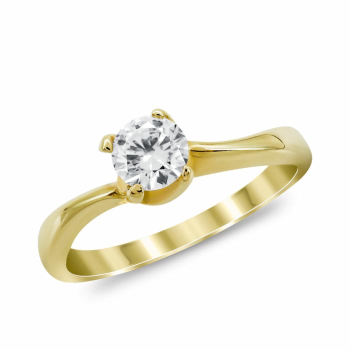 Μονόπετρο Δαχτυλίδι από Κίτρινο Χρυσό K14 DX1037