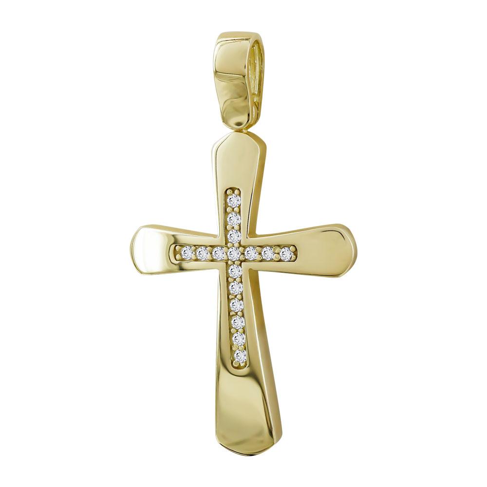 Σταυρός Βάπτισης Γυναικείος Σε Κίτρινο Χρυσό 14 Καρατίων με Πέτρες ST103087