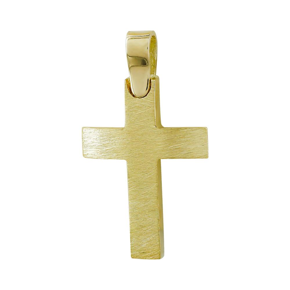 Σταυρός Βάπτισης Ανδρικός Σε Κίτρινο Χρυσό 14 Καρατίων ST093389